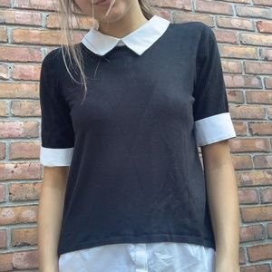 New York And Company Collar Black Top - Small